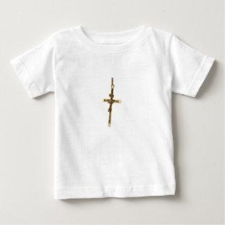 Camiseta Para Bebê Ouro transversal do Jesus Cristo horizontal