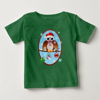 Camiseta Para Bebê Oval da coruja do Feliz Natal