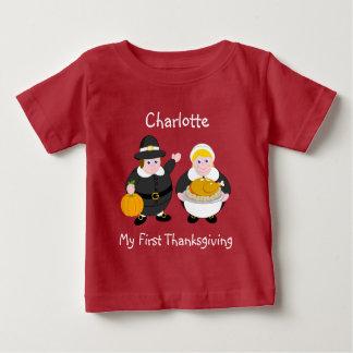 Camiseta Para Bebê Pais, abóbora & peru do peregrino da acção de