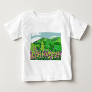 Camiseta Para Bebê Paisagem com arte das flores
