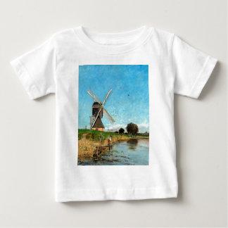 Camiseta Para Bebê Paisagem de Carl Skånberg com moinho de vento