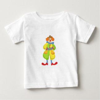 Camiseta Para Bebê Palhaço amigável colorido que joga o acordeão na