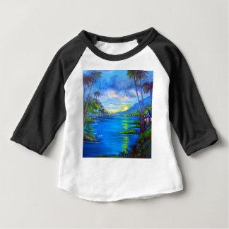 Camiseta Para Bebê Palmas tropicais azuis