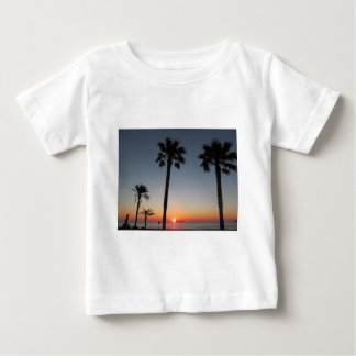 Camiseta Para Bebê Palmeiras no por do sol