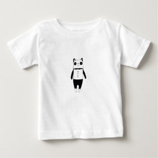 Camiseta Para Bebê Panda preto e branco pequena