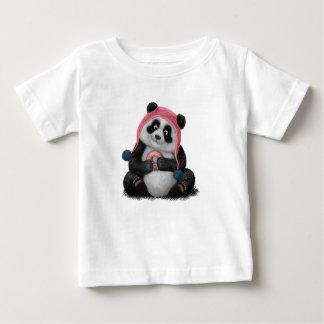 Camiseta Para Bebê Panda que come uma rosquinha