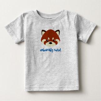 Camiseta Para Bebê Panda vermelha bonito