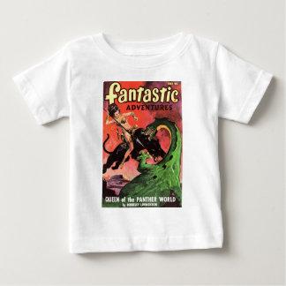 Camiseta Para Bebê Pantera contra o dinossauro