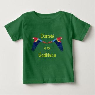 Camiseta Para Bebê Papagaios do verde do caribe