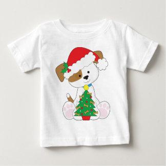 Camiseta Para Bebê Papai noel bonito do filhote de cachorro