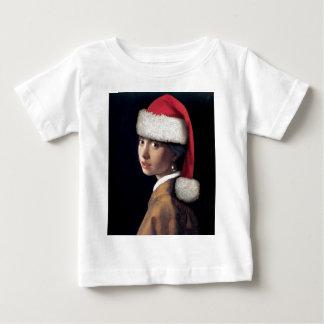 Camiseta Para Bebê Papai noel com um brinco da pérola