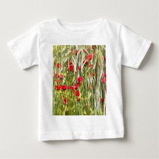 Camiseta Para Bebê Papoilas de milho vermelhas