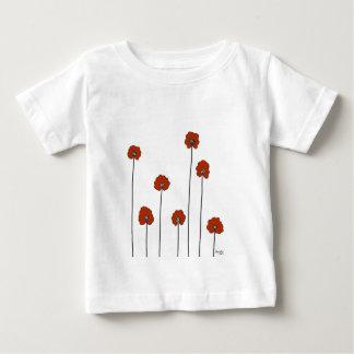 Camiseta Para Bebê papoilas vermelhas