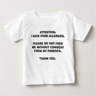 Camiseta Para Bebê Para crianças com alergias de comida