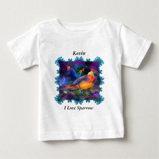 Camiseta Para Bebê Pardal colorido do arco-íris bonito