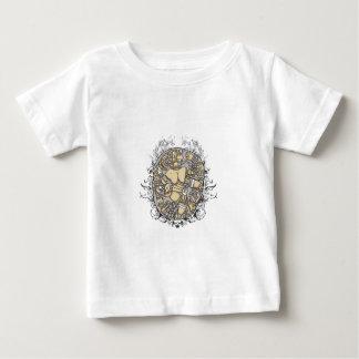 Camiseta Para Bebê partes do corpo do vintage junto