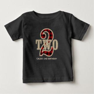 Camiseta Para Bebê Partido de segundo aniversário vermelho rústico da