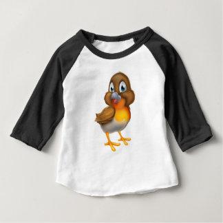 Camiseta Para Bebê Pássaro do pisco de peito vermelho do Natal dos