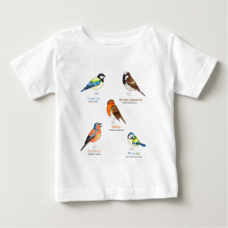 Camiseta Para Bebê Pássaros coloridos do jardim