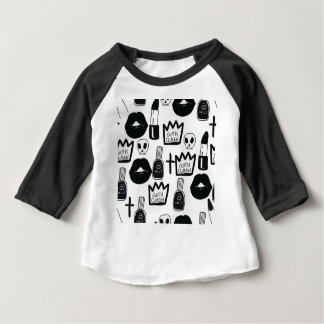 Camiseta Para Bebê pastel goth, queen, horror, terror, gothic, femini