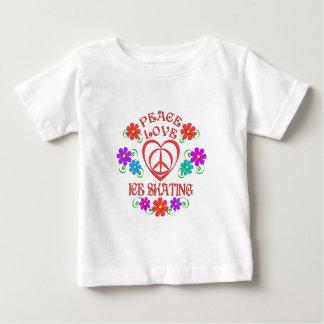 Camiseta Para Bebê Patinagem no gelo do amor da paz