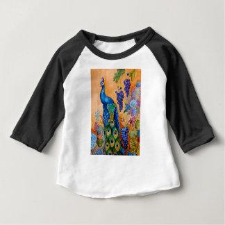 Camiseta Para Bebê Pavão e uvas