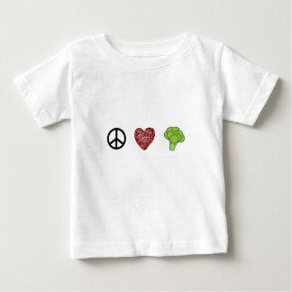 Camiseta Para Bebê Paz, amor, e brócolos