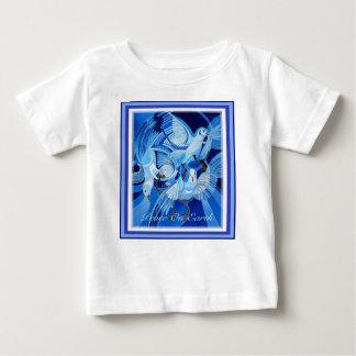 Camiseta Para Bebê Paz na terra com pombas