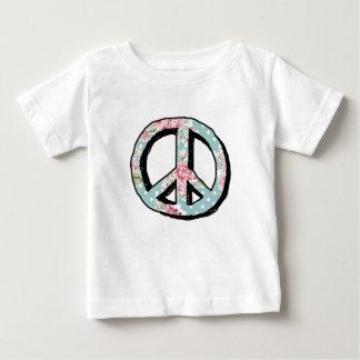Camiseta Para Bebê Peace Flowers - Rose