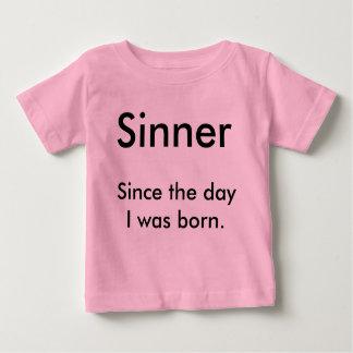Camiseta Para Bebê Pecador, desde o dia eu era nascido