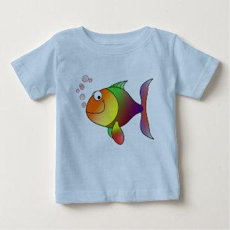 Camiseta Para Bebê Peixe dourado alegre no mar