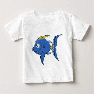 Camiseta Para Bebê Peixes azuis e amarelos dos desenhos animados