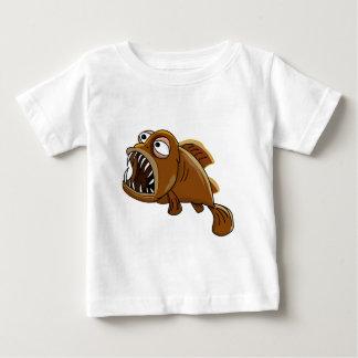 Camiseta Para Bebê peixes brancos e marrons do piranha dos desenhos