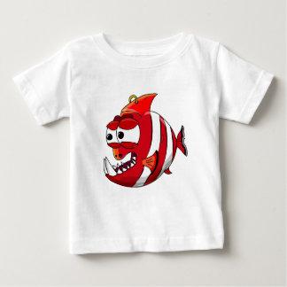 Camiseta Para Bebê peixes brancos e vermelhos do piranha dos desenhos