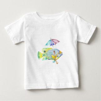 Camiseta Para Bebê Peixes do anjo com guarda-chuva