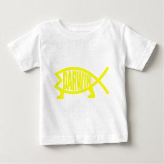 Camiseta Para Bebê Peixes originais de Darwin (amarelo)