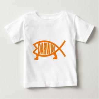 Camiseta Para Bebê Peixes originais de Darwin (luz - laranja)