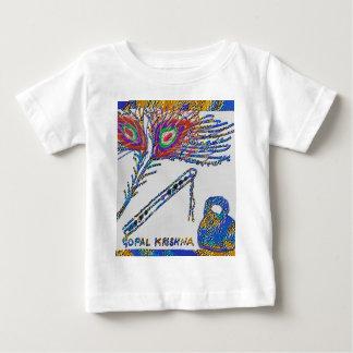 Camiseta Para Bebê Pena do pavão e flauta - lebre Krishna