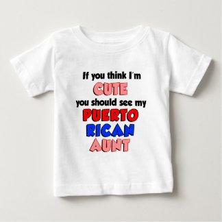 Camiseta Para Bebê Pense que eu sou tia porto-riquenha bonito