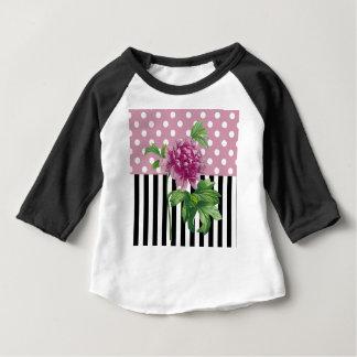 Camiseta Para Bebê Peônia cor-de-rosa artística