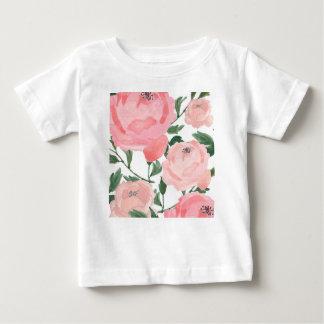 Camiseta Para Bebê Peônias 1 da aguarela