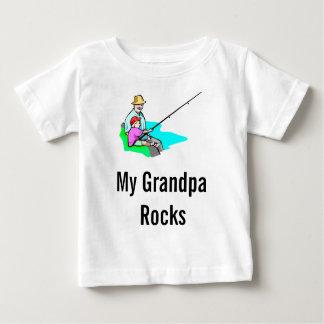 Camiseta Para Bebê pesca do vovô, minhas rochas do vovô