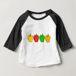 Camiseta Para Bebê Pimentas de Bell coloridas