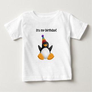 Camiseta Para Bebê Pinguim do feliz aniversario