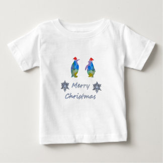 Camiseta Para Bebê Pinguins do Natal