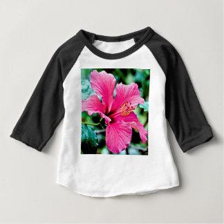 Camiseta Para Bebê Pink hibisco
