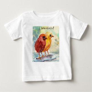 Camiseta Para Bebê Pintinhos de flutuação