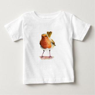 Camiseta Para Bebê Pintura da aguarela do pássaro do pisco de peito