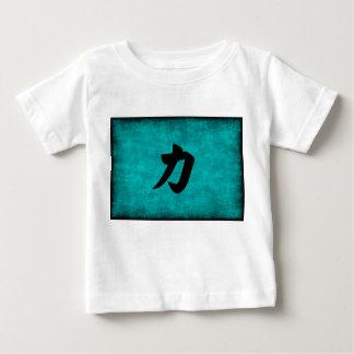 Camiseta Para Bebê Pintura do caráter chinês para a força no azul