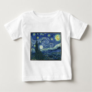 Camiseta Para Bebê Pinturas de Van Gogh: Noite estrelado Van Gogh